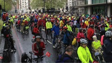 The cyclists gather in Park Lane.
