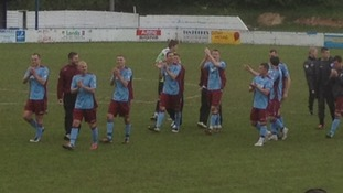 Colwyn Bay players applauding the crowd