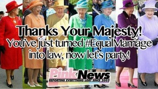 Pink News released a pictures with the Queen wearing all the colours of the rainbow.