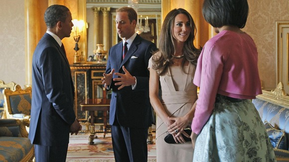 Barack Obama and First Lady Michelle Obama meet with Prince William and the Duchess of Cambridge at Buckingham Palace.