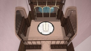 Artist's impression of overhead view of raised tomb at Leicester Cathedral