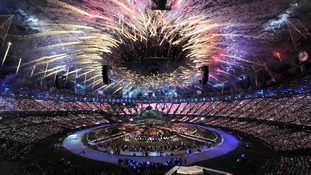 Fireworks at the opening ceremony of the London Olympic Games 2012.
