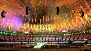 Fireworks during the closing ceremony of London 2012.