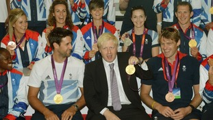 London Mayor Boris Johnson pictured with Team GB after the 2012 Olympic Games.