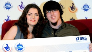 Lottery winners Matt Topham and Cassey Carrington both 22 celebrate after winning £45,169,170.50 on EuroMillions jackpot