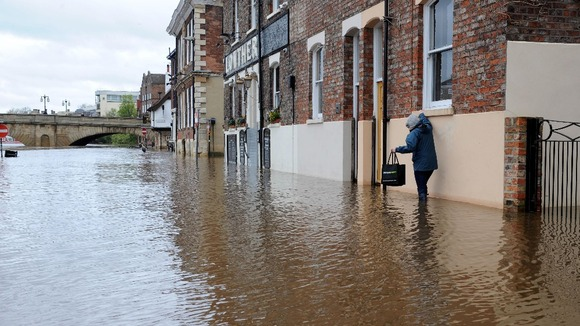The River Ouse in York has flooded parts of the city
