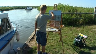 Kieron Williamson painting on the broads in Norfolk