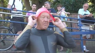 Andy Nation gets ready to set off on Teddington to Calais swim