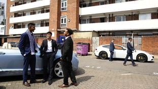 Mahir Magnet Choudhury, Nazmul Islam and Rezaul Alom stand by the Bentley they hired