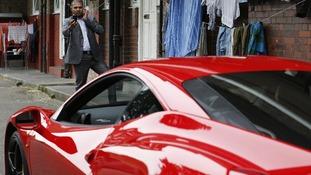 Ferrari parked at an east London estate