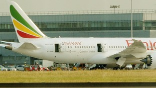 The Ethiopian Airlines Boeing 787 Dreamliner jet caught fire at Heathrow.