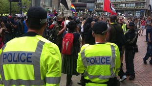 Police and anti-fascist supporters in Chamberlain Square.