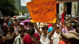 Hundreds of protesters rally in New York City to express their anger over the acquittal of George Zimmerman.