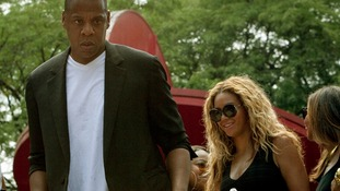 Singer Beyonce and her husband, rapper Jay Z, joined the rally in New York City.