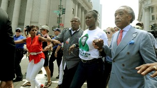 Trayvon Martin's mother Sybrina Fulton and Reverend Al Sharpton at the New York City rally.