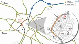 This map shows the ring road and the major routes leading onto it.