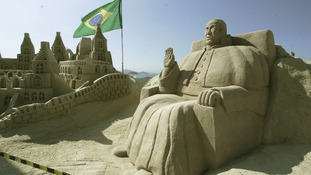 Sand sculpture in honor of Pope Francisco in Copacabana, south of Rio de Janeiro.