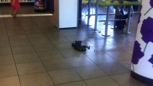 The offending 'business' was left on the floor of the Whitefield branch in Greater Manchester.
