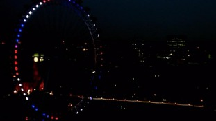 London Eye has been lit up red, white and blue to celebrate the birth of the first child of the Duke and Duchess of Cambridge.