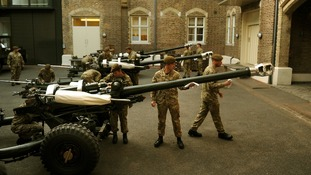 The Honourable Artillery Company (HAC) polish the guns as they prep their kit and personnel at Armoury House.