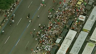 Crowds quickly surrounded the Pope's car after the motorcade took a wrong turn.