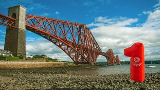 An inflatable number 1 at the Forth Rail Bridge.