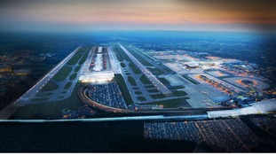 Computer generated image of how a second runway at Gatwick might look