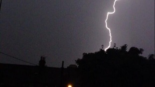 Lightning strikes near homes in Gillingham, Kent.