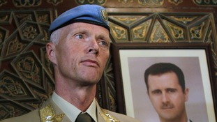 The Chief of the U.N. Supervision Mission to Syria, Norwegian Major General Robert Mood looks arrives at Damascus airport