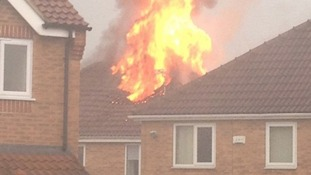 Lightning sets a house alight  in Heanor, Derbyshire