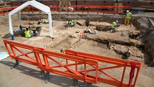The archaeological dig site at Grey Friars, Leicester