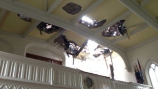 Damaged church roof