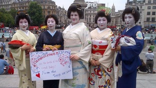 The four women, dressed in traditional geisha attire, sent their congratulations to the Duke and Duchess.