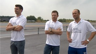 Jimmy Anderson, Ian Bell and Jonathan Trott at the race track in Gaydon