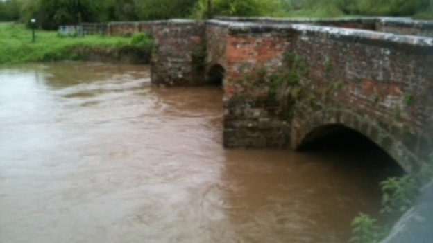River levels are high at Powick in Worcestershire