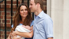 Kate, new baby and William leaving the Lindo Wing of St Mary's Hospital.