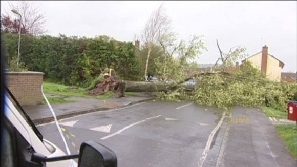 Roads in Midsomer Norton near Bath were forced to close after tress fell overnight