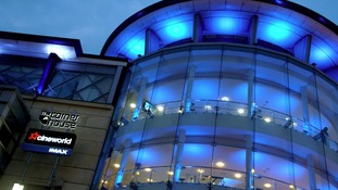 Nottingham city centre lights up blue for royal baby boy.