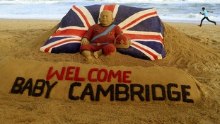 A sand sculpture to mark the birth of Britain's royal baby, on a beach in the eastern Indian state of Odisha.