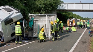 Emergency crews at the scene of a crash on the A303 which killed three horses