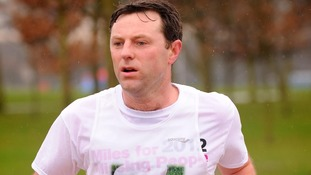 Gerry McCann takes part in the Miles for Missing People run, in Regent's Park, central London in 2012.