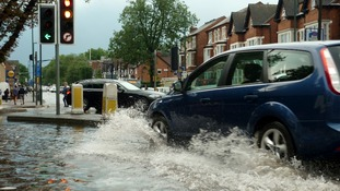 The heavily flooded junction between Mansfield Road and Hucknall Road in Nottingham.