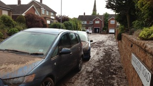 Aftermath of flash flooding in Halloughton Road, Southwell, Nottinghamshire.