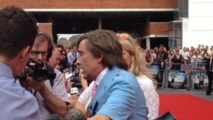 Alan Partridge being interviewed at the world premiere of Alpha Papa at Anglia Square in Norwich