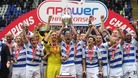 The Reading FC team lift the the Npower Championship Trophy at the Madejski Stadium.