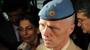 Norwegian Major General Robert Mood arrives at Damascus airport.