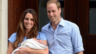 The Duke and Duchess of Cambridge leave hospital with their son, George.