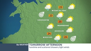 Friday afternoon weather map for West Midlands.