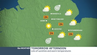 Friday afternoon weather map for East Midlands.