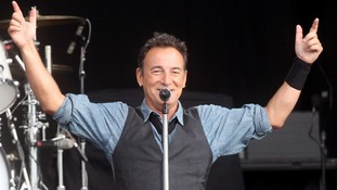 Bruce Springsteen pictured performing at Leeds Arena yesterday afternoon.